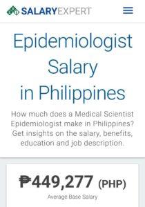 Epidemiologist salary in philipines