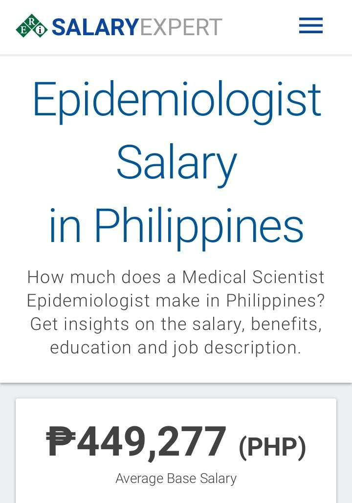 Epidemiologist salary in philipines
