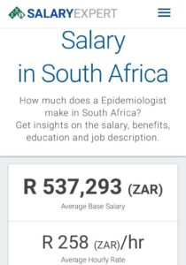 Epidemiologist salary in South Africa