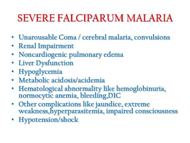 WHO definition of Severe malaria