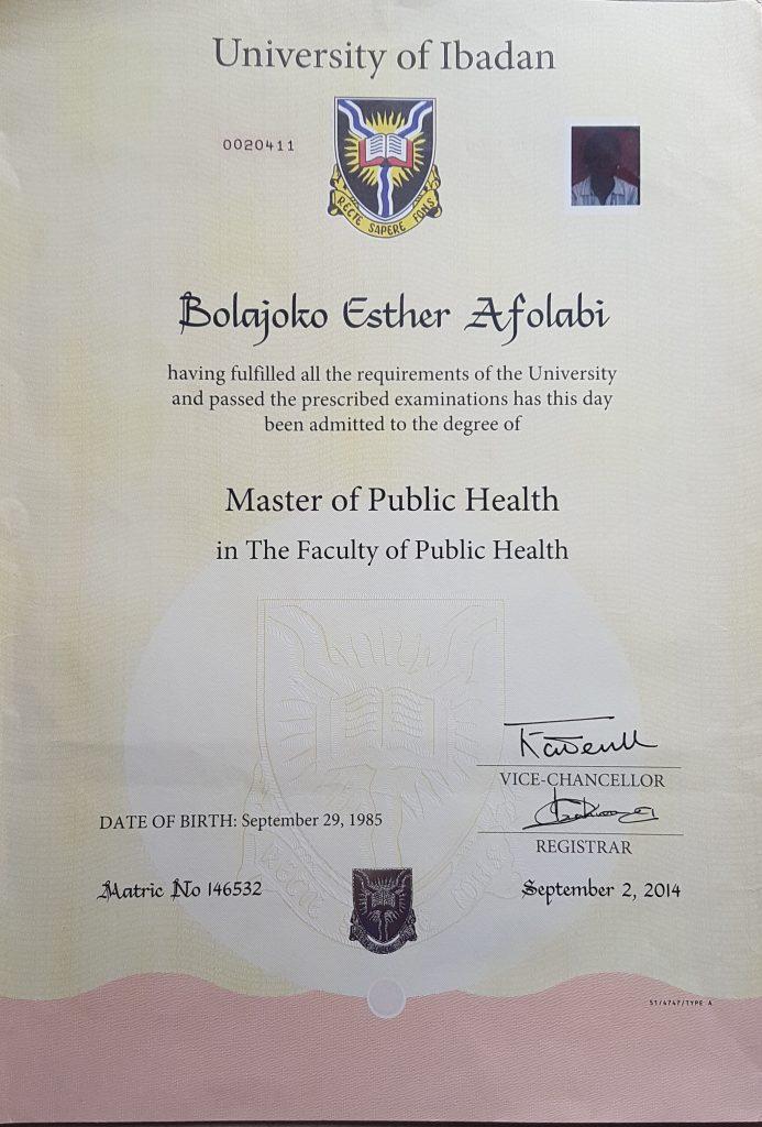 MPH certificate
