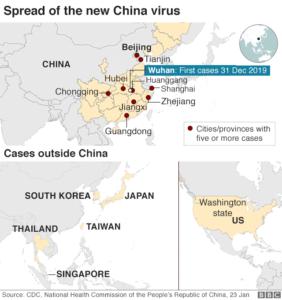 coronavirus spread map