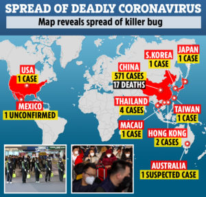 coronavirus spread map