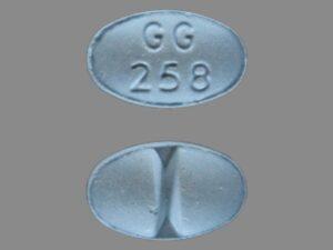 gg 258 blue oval pill street value