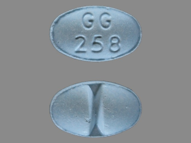 gg 258 blue oval pill street value