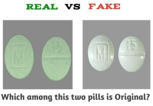 m 15 green pill fake