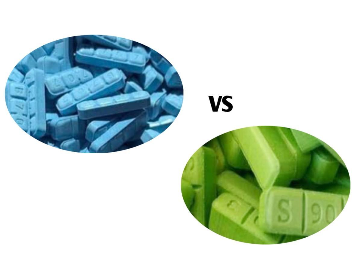 blue xanax vs green xanax