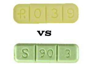 R039 Xanax Bar VS Green Xanax S 90 3 Bar